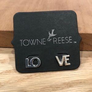 """Towne & Reese Bette """"LOVE"""" stud earrings"""